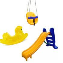 Playground Escorregador Médio + Balanço Infantil + Gangorra Cavalinho - Amarelo - Natalplast