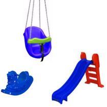 Playground Escorregador Médio + Balanço Infantil + Gangorra Cavalinho - Azul - Natalplast