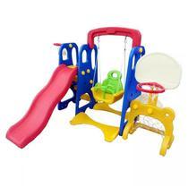 Playground Infantil Importway 5 em 1 Balanço Gol Cesta Escorregador Tabela Basquete -