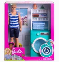 Playset E Boneco Ken Moveis E Acessorios Lavanderia Barbie - Mattel