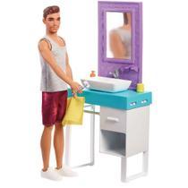 Playset e Boneco Ken - Móveis e Acessórios Temáticos - Banheiro - Barbie - Mattel FYK51/FYK53 -