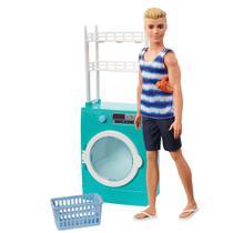 Playset e Boneco Ken - Móveis e Acessórios Temáticos - Lavanderia - Barbie - Mattel -