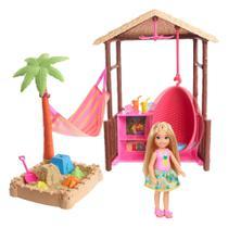 Playset e Mini Boneca Barbie - Barraca de Praia da Chelsea com Areia de Modelar - Mattel -