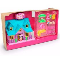 Playset e Mini Figura - Mini House - Casinha TelhadoAzul - Tati - DTC -