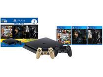 PlayStation 4 Mega Pack Bundle V9 1TB 1 Controle - Sony com 3 Jogos + Controle Sem Fio Dourad