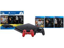 PlayStation 4 Mega Pack Bundle V9 1TB 1 Controle - Sony com 3 Jogos + Controle Sem Fio Vermelho