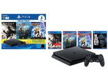 PlayStation 4 Mega Pack V18 2021 1TB 1 Controle - Preto Sony + The Last of Us Part II para PS4