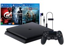 Playstation 4 Slim 1TB Sony 1 Controle - com 3 Jogos PS Plus 3 Meses Headset