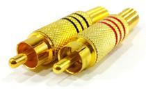 Plug rca metalico c/ mola preto/vermelho dourado - par - Ntv