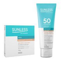 Pó Compacto Sunless Efeito Matte FPS 50 Bege Médio 10g e Ganhe 50% de Desconto no Protetor Solar Sunless com Base Cor Bege Médio FPS 50 Toque Seco 60g - Farmax