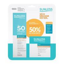 Pó Compacto Sunless Matte FPS 50 Bege Claro + Protetor Solar com Base  Bege Claro FPS 50 Toque Seco - Farmax
