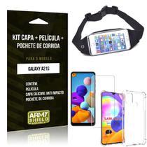 Pochete Galaxy A21s + Capinha Anti Impacto + Película de Vidro Blindada - Armyshield -