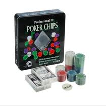 Poker Chips Profissional Maleta Poker 100 Fichas 2 Baralho - IMPORIENTE UD
