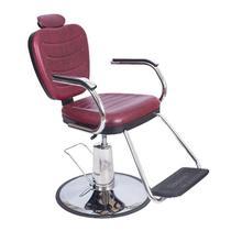 Poltrona Cadeira Barbeiro Vermelha Reclinável Hidráulica - Dompel