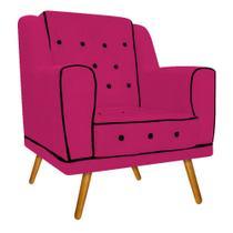Poltrona Cadeira Decorativa Olivia Pés Palito Capitonê Corano Pink para Consultório Sala de Estar Recepção Quarto - AM Decor -