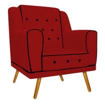Poltrona Cadeira Decorativa Olivia Pés Palito Capitonê Corano Vermelho para Consultório Sala de Estar Recepção Quarto - AM Decor -