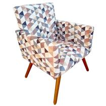 Poltrona Cadeira Nina Decoração Suede Triangulo Bege - Mobili -