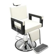 Poltrona Cadeira Reclinável Barbeiro Maquiagem Salão Dompel - Branco Pérola Barber Square -