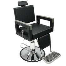Poltrona Cadeira Reclinável Barbeiro Maquiagem Salão Dompel - Preto Barber Square -