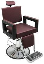 Poltrona Cadeira Reclinável Barbeiro Maquiagem Salão Dompel - Vinho Barber Square -
