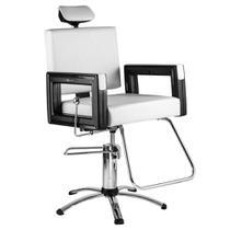 Poltrona Cadeira Reclinável P/ Barbeiro Maquiagem Salão - Branca Pérola Square - Dompel