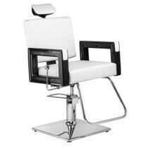 Poltrona Cadeira Reclinável P/ Barbeiro Maquiagem Salão - Branco Pérola - Dompel
