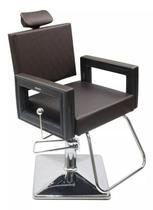 Poltrona Cadeira Reclinável P/ Barbeiro Maquiagem Salão - Marrom - Dompel