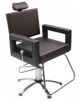 Poltrona Cadeira Reclinável P/ Barbeiro Maquiagem Salão - Marrom Tabaco Square - Dompel