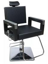 Poltrona Cadeira Reclinável P/ Barbeiro Maquiagem Salão - Preta - Dompel