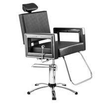 Poltrona Cadeira Reclinável P/ Barbeiro Maquiagem Salão - Preta Square - Dompel