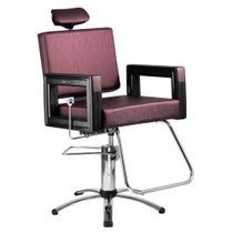 Poltrona Cadeira Reclinável P/ Barbeiro Maquiagem Salão - Vinho Square - Dompel