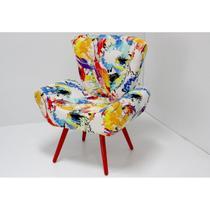Poltrona Decorativa Alana com Pés Coloridos - Domi -