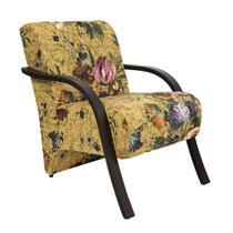 Poltrona Decorativa Cadeira Estampada Floral Amarelo - Elegance