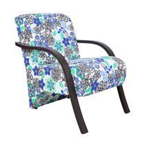 Poltrona Decorativa Cadeira Estampada Floral Azul - Elegance