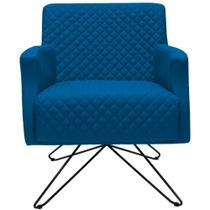 Poltrona Decorativa com Base Orby Diva Veludo Azul Tressê B-170 - Lyam Decor -