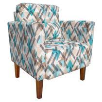 Poltrona Decorativa Lívia para Sala e Recepção Estampado Traçados Azul D33 - DRossi -