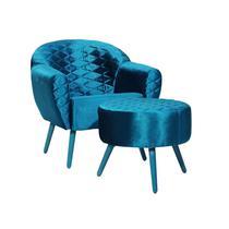 Poltrona Decorativa Nina com Puff Pés Palito Turquesa Tressê 03 Veludo Trama Azul Turquesa - Domi -