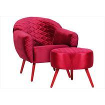 Poltrona Decorativa Nina com Puff Pés Palito Vermelho Tressê 03 Veludo Brilho Vermelho - Domi -