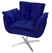 Poltrona decorativa Opala azul marinho base giratória MeuNovoLar -