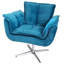 Poltrona decorativa Opala azul turquesa giratória MeuNovoLar -