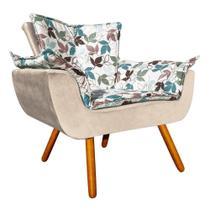 Poltrona Decorativa Opala Composê Estampado Floral D68 e Peach Bege - D'Rossi -