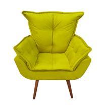 Poltrona Decorativa Opala Plus Suede Amarela - RAFADECOR -