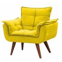 Poltrona Decorativa Opala Suede Amarela - Twdecora -