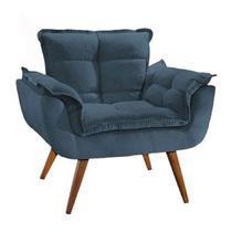 Poltrona Decorativa Opala Suede Azul Marinho - Twdecora -