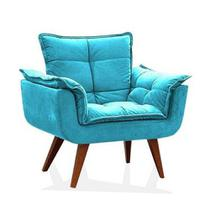 Poltrona Decorativa Opala Suede Azul Tifany - Twdecora -