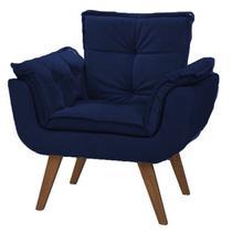 Poltrona decorativa opalla -  azul marinho - Bymobille