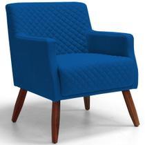 Poltrona Decorativa Para Sala de Estar e Recepção Diva Tressê Veludo Azul B-170 - Lyam Decor -