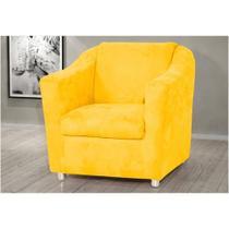 Poltrona Decorativa Para Sala E Escritório Tilla Suede Amarelo - Rafadecor