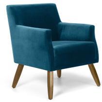 Poltrona Decorativa Pés em Madeira Sala de Estar Diva D02 Veludo Azul B-170 - Lyam Decor -