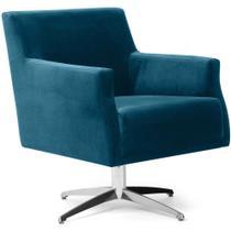 Poltrona Decorativa Sala de estar Base Evo Diva D02 Veludo Azul B-170 - Lyam Decor -